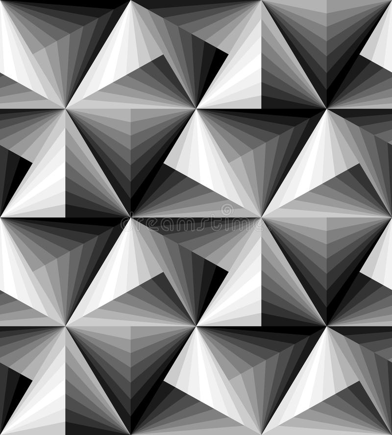 Sömlös Polygonal monokrom modell geometrisk abstrakt bakgrund Optisk illusion av volym och djup Passande för textil royaltyfri illustrationer