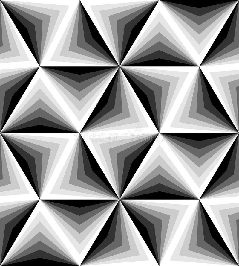 Sömlös Polygonal monokrom modell geometrisk abstrakt bakgrund Passande för textil, tyg och att förpacka royaltyfri illustrationer
