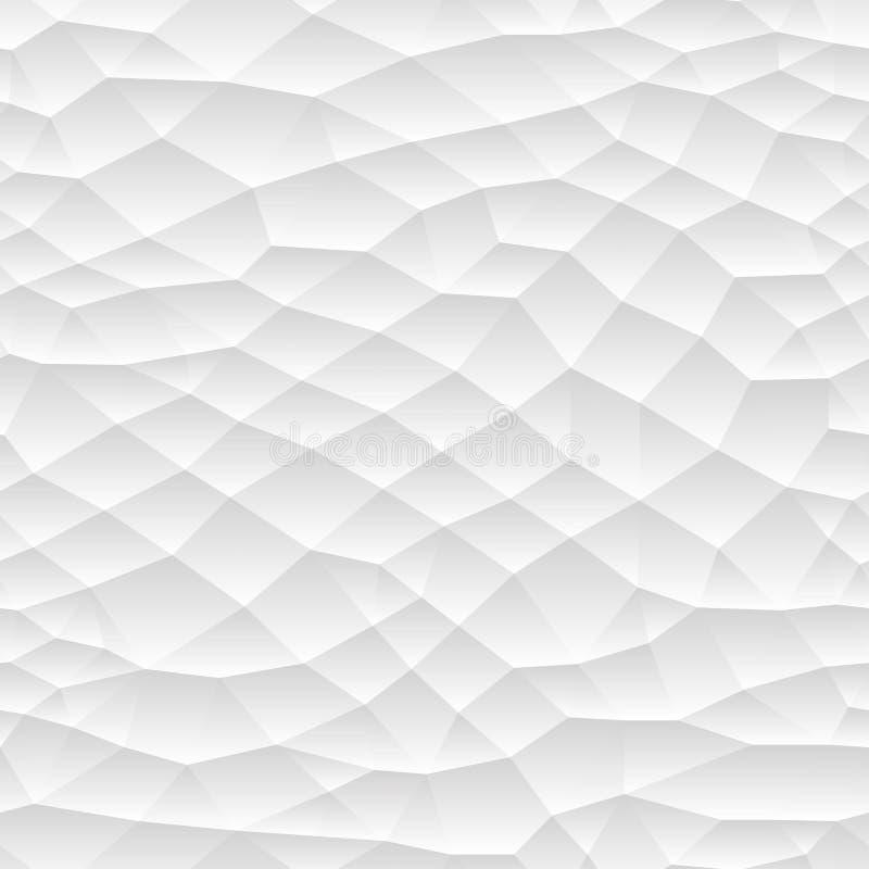 Sömlös polygonal mosaiklutningtextur Upprepande design för vit och för grå färger stock illustrationer