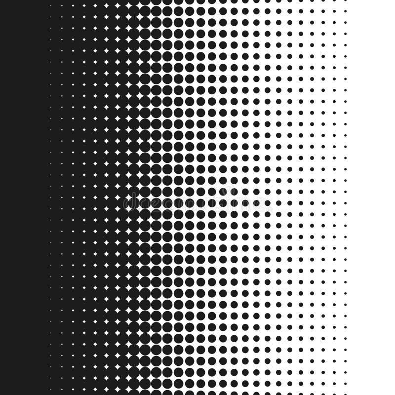 Sömlös prickig rastrerad lutning för för för bakgrundsvektorillustration, vit och svart stock illustrationer