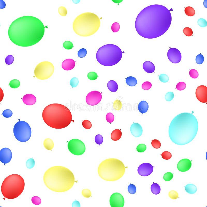 Sömlös primitiv bakgrund med partiballonger av olika färger också vektor för coreldrawillustration vektor illustrationer