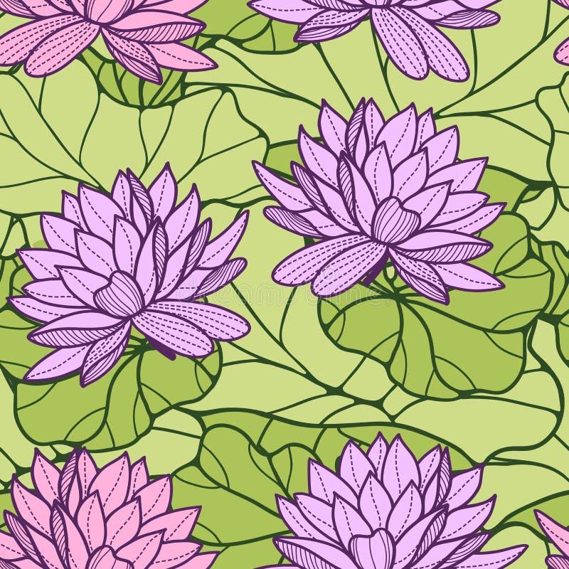 Sömlös prydnad för näckros royaltyfri illustrationer