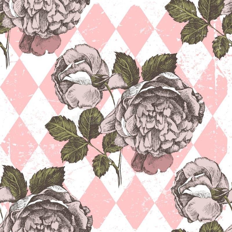 Sömlös prydnad med hand drog rosor royaltyfri illustrationer