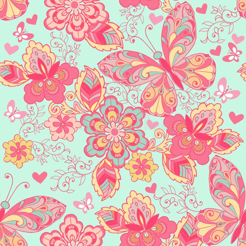 Sömlös prydnad med rosa fjärilar, hjärtor och blommor på en blå bakgrund Dekorativ prydnadbakgrund för tyg vektor illustrationer