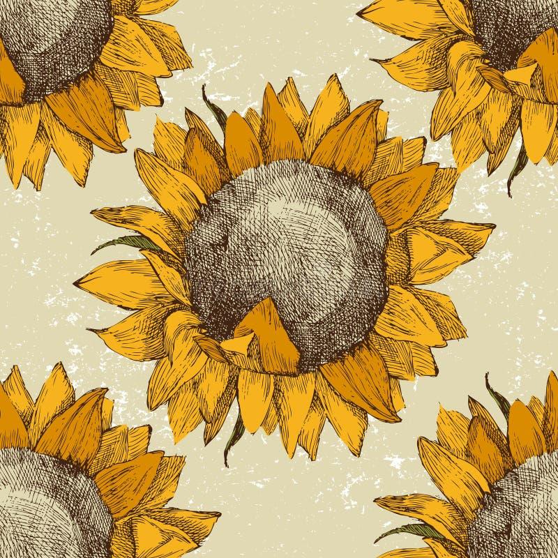 Sömlös prydnad med solrosor vektor illustrationer