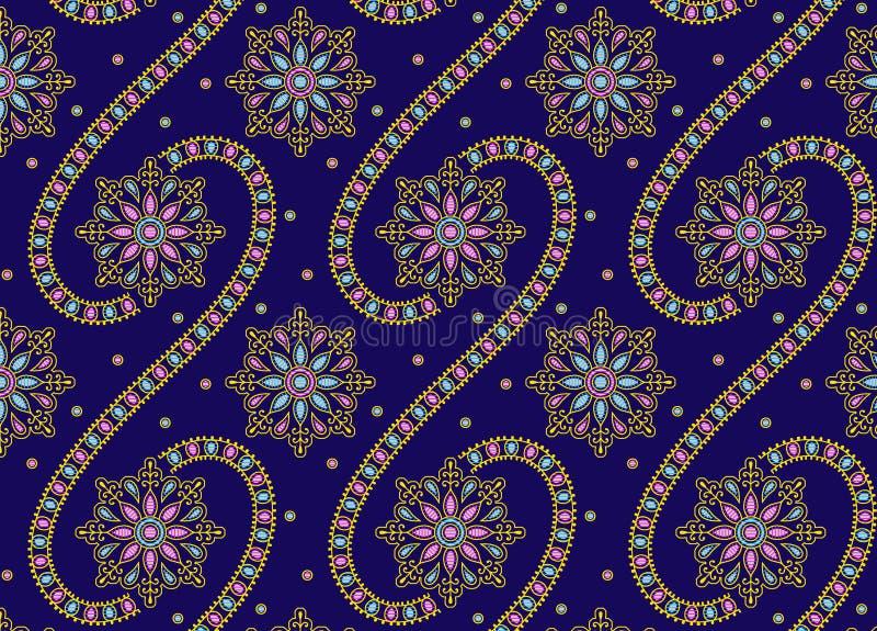 Sömlös prydnaddesign med blå bakgrund stock illustrationer