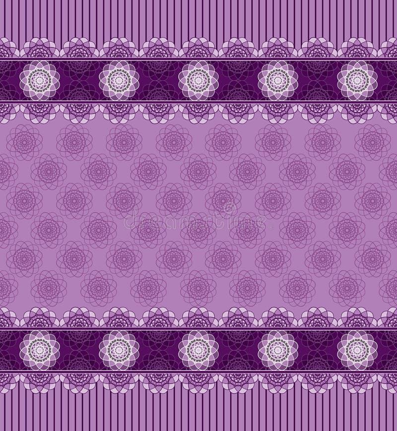 Sömlös purpurfärgad bakgrund med snör åt gränsen stock illustrationer