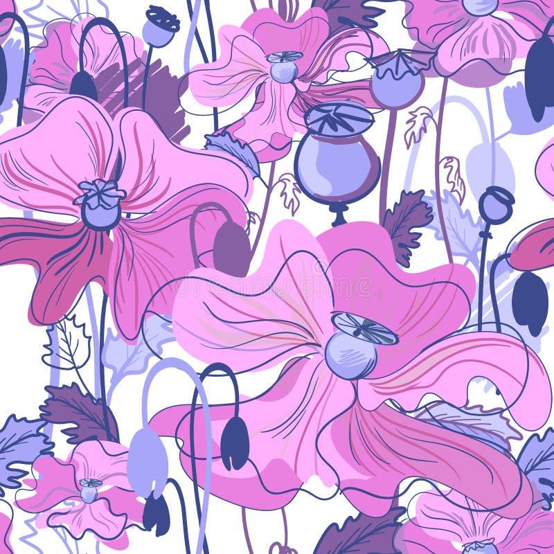 Sömlös purpurfärgad VALLMOmodell som är rosa och arkivfoton