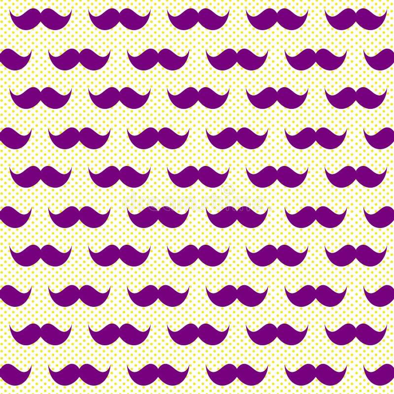 Sömlös purpurfärgad wiskersmustaschbakgrund vektor illustrationer