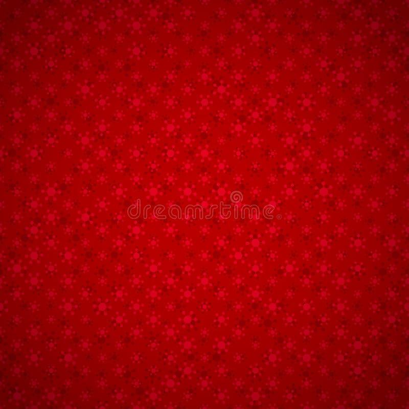 Sömlös röd bakgrund med snöflingor royaltyfri illustrationer