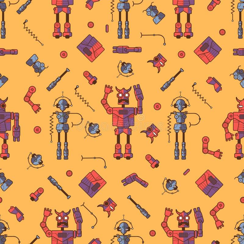 Sömlös röd Botmodell royaltyfri illustrationer