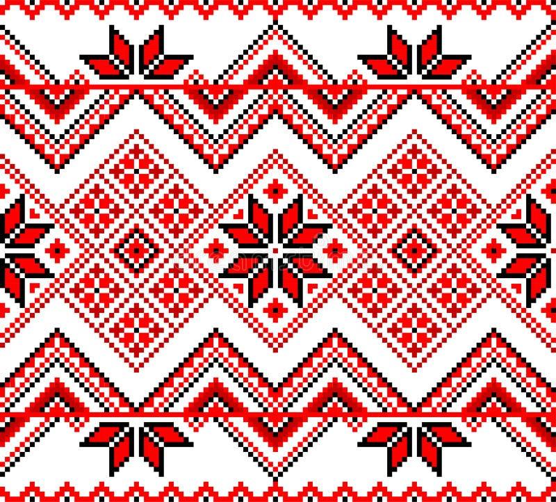 Sömlös röd etnisk ukrainsk prydnad royaltyfri illustrationer