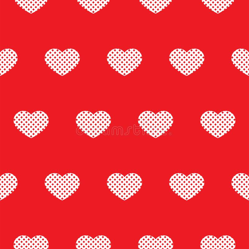 Sömlös röd modell med hjärtor vektor vektor illustrationer
