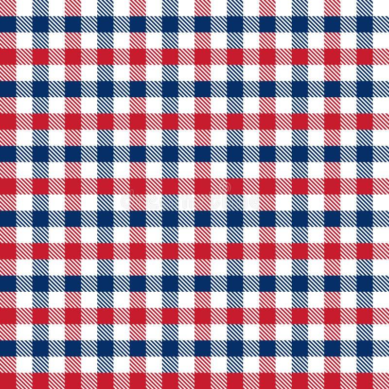 Sömlös röd och blå 4th av bakgrund för modell för kontroll för Juli självständighetsdagengingham stock illustrationer