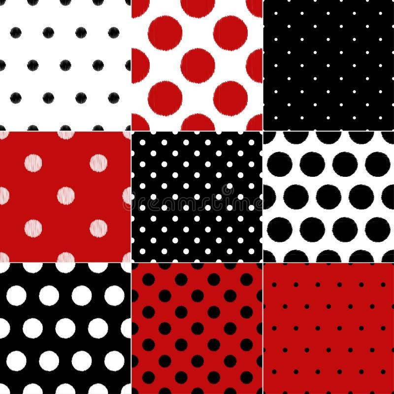 Sömlös röd och svart design för modell för pricktextilbakgrund stock illustrationer