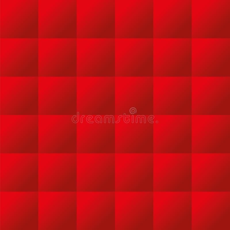 Sömlös röd vadderad textur för stoppningvektormodell royaltyfri illustrationer