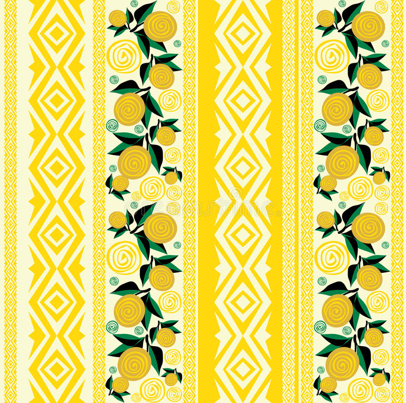 Sömlös randig bakgrund med gulingblommor och sidor stock illustrationer