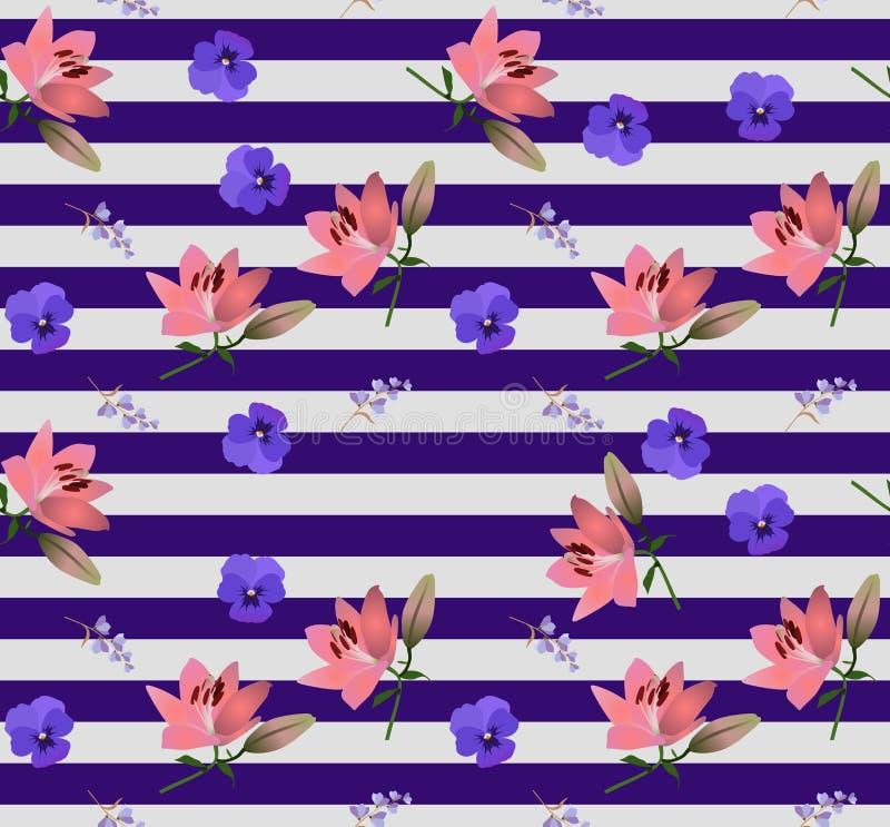 Sömlös randig blom- modell med små klockablommor, stora rosa liljor och blåa violets i vektor Tryck för tyg stock illustrationer