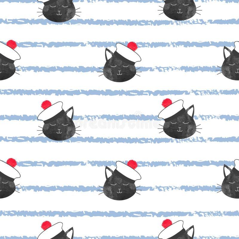 Sömlös randig marin- modell med den gulliga kattsjömannen vektor illustrationer