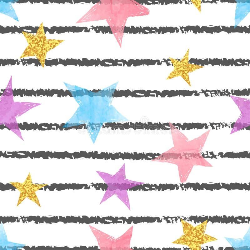 Sömlös randig modell med färgrika stjärnor stock illustrationer