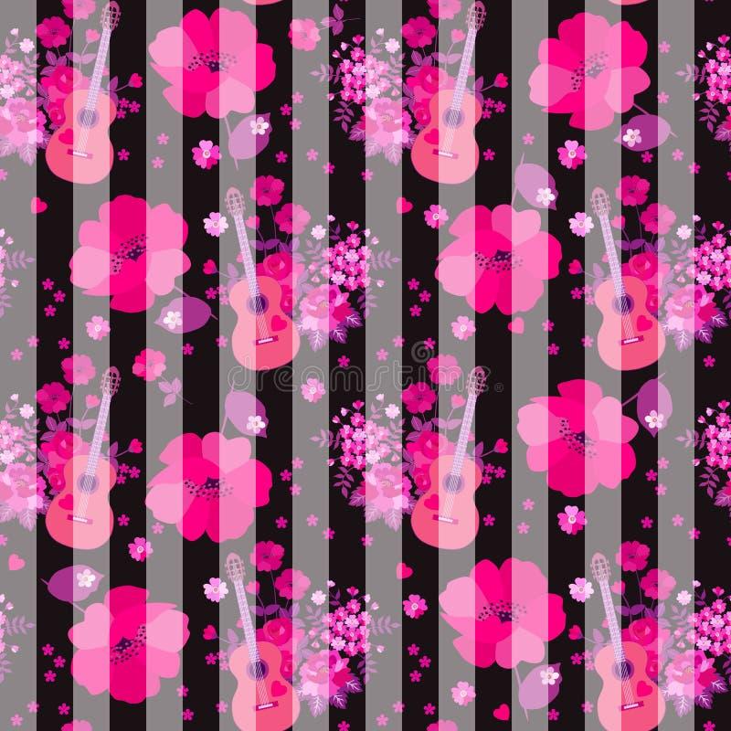 Sömlös randig modell med gitarrer, grupp av trädgårdblommor och enorma rosa vallmo på svart bakgrund Tryck f?r tyg vektor illustrationer