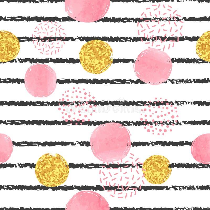 Sömlös randig och prickig modell med svarta och guld- cirklar för rosa färger, vektor illustrationer
