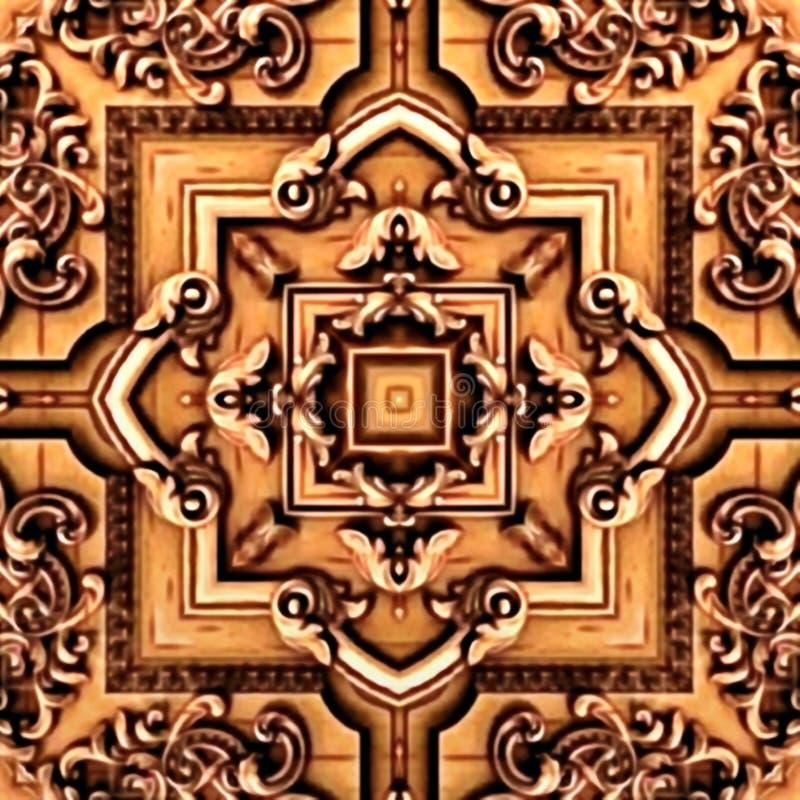 Sömlös rastermodell i den psykedeliska mosaikmodellen för orientalisk stil för tapeten, bakgrunder, dekor för gobelänger arkivfoton