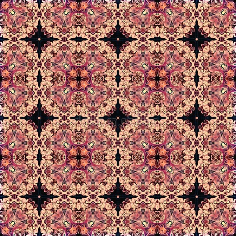 Sömlös rastermodell i modellen för mosaik för orientalisk stilblomma den psykedeliska för tapeten, bakgrunder, dekor för gobeläng vektor illustrationer