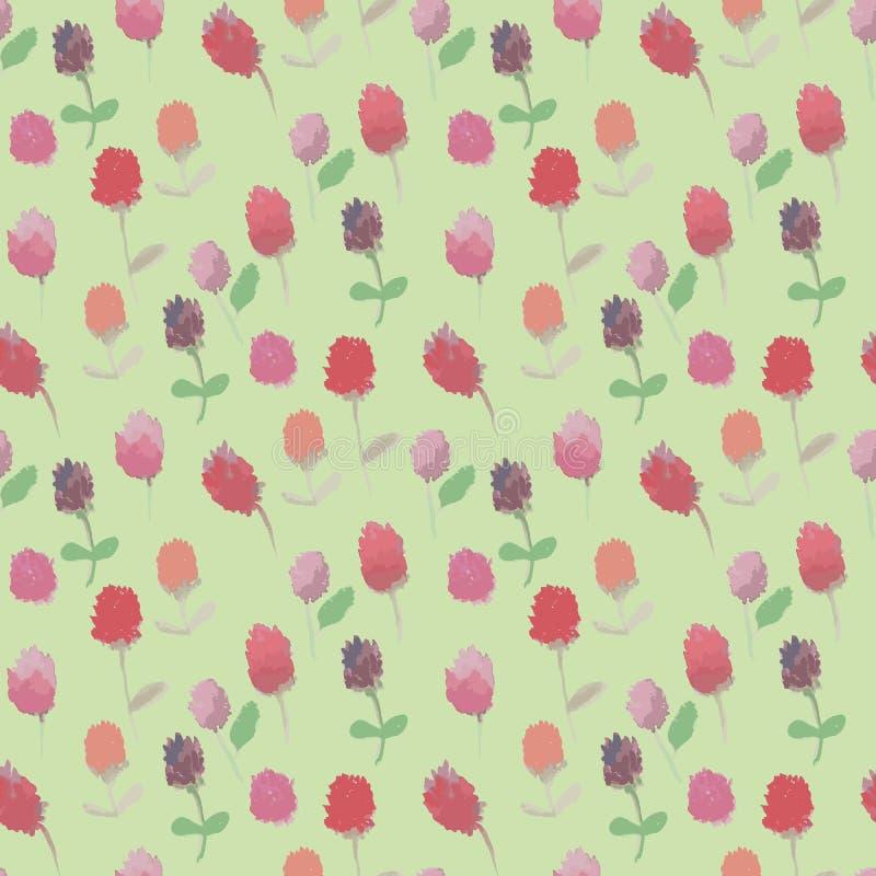Sömlös rastermodell med röda och rosa växt av släktet Trifoliumblommor på blek bakgrund vektor illustrationer