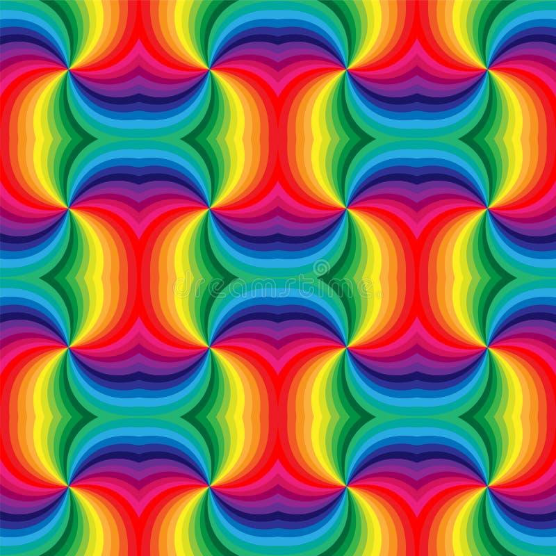 Sömlös regnbågespiralmodell geometrisk abstrakt bakgrund Passande för textil, tyg och att förpacka royaltyfri illustrationer