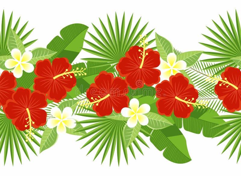Sömlös remsa av tropiska blommor och sidor dekorativ remsa av blommor av hibiskusen och plumeria, palmblad, monstera vektor illustrationer