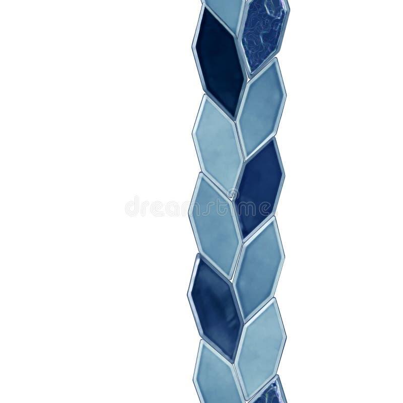 Sömlös remsa, en rad av blåa tegelplattor Modellen av keramik isoleras på en vit royaltyfri illustrationer