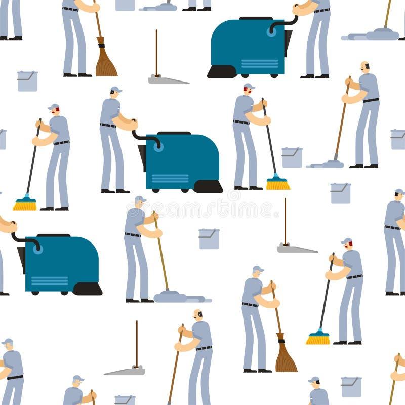 Sömlös rengörande modell Dörrvakt- och rengöringsmedelbakgrund kvast och industriell dammsugare sopa borsten och hinken service stock illustrationer