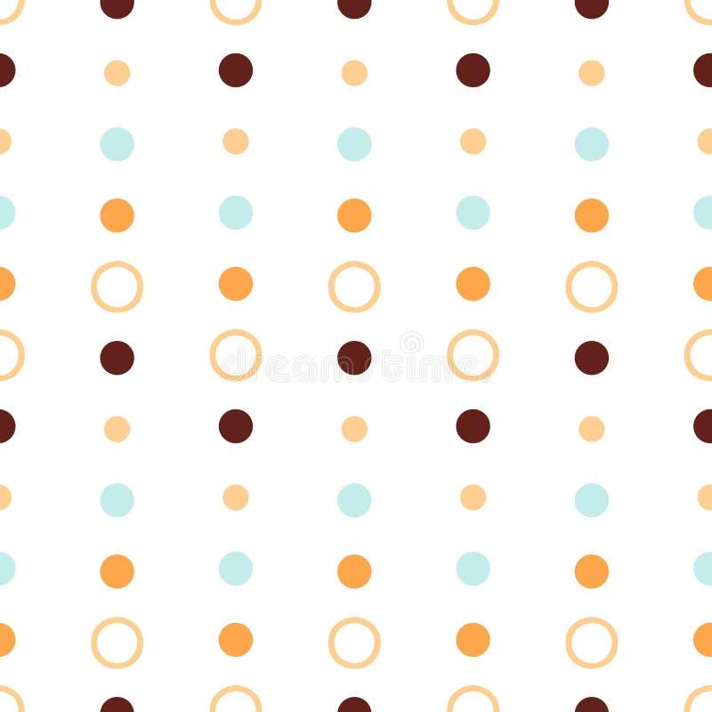 Sömlös repetitionabstrakt begreppmodell med runda former i pastellfärgad blå och brun pricktextur för apelsin, på vit bakgrund Gu royaltyfri illustrationer
