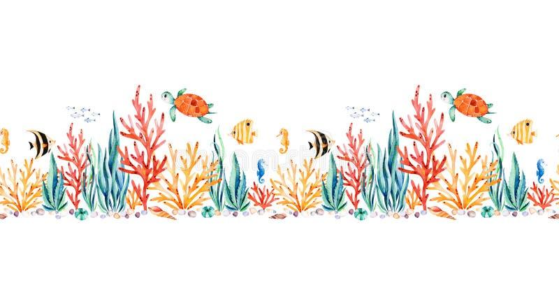 Sömlös repetitiongräns för oceanisk varelse med den gulliga sköldpaddan royaltyfri illustrationer