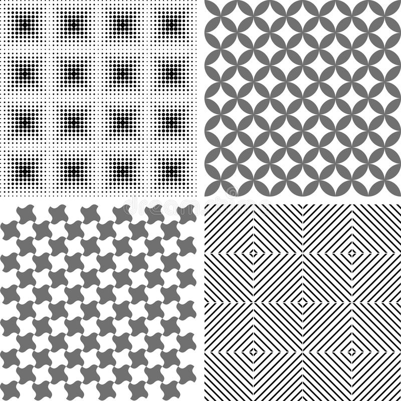 Sömlös repetitionmodell, abstrakt bakgrund - uppsättning vektor illustrationer