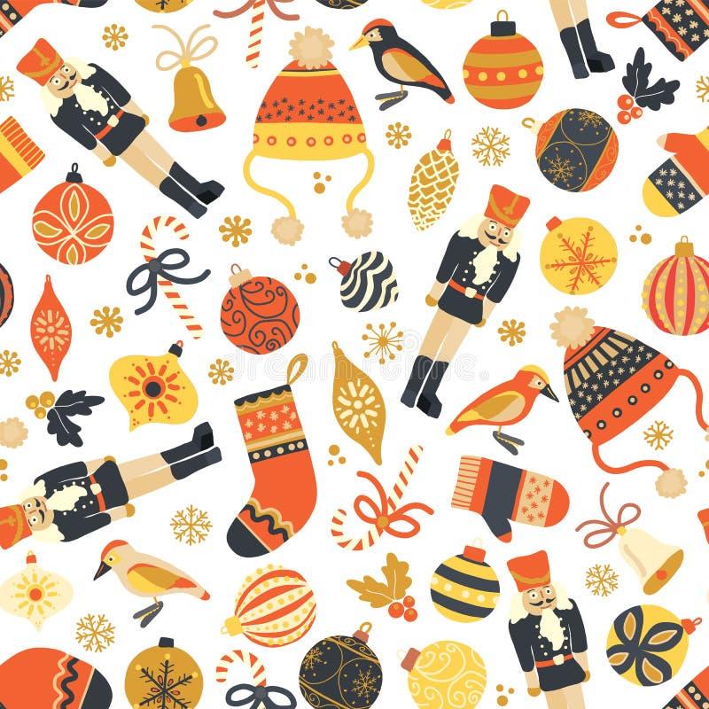 Sömlös retro bakgrund för julvektormodell Nötknäppare hatt, tumvanten, strumpa, godisrotting, fågel, prydnader upprepa stock illustrationer