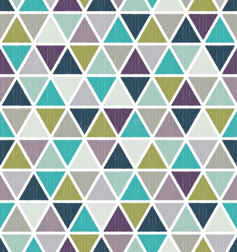 Sömlös retro geometrisk triangeltegelplattatapet stock illustrationer