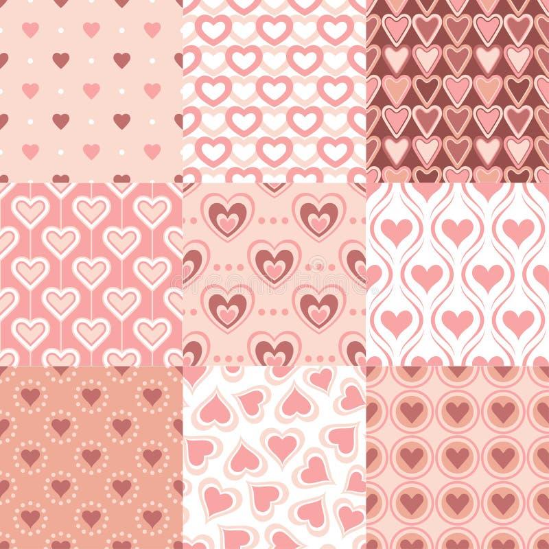 Sömlös retro hjärtabakgrund royaltyfri illustrationer