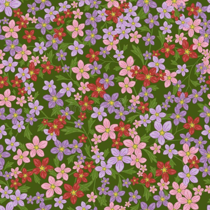 Sömlös retro modell för vektor, blommastenbräcka Påfyllningar tapet, yttersidatexturer stock illustrationer