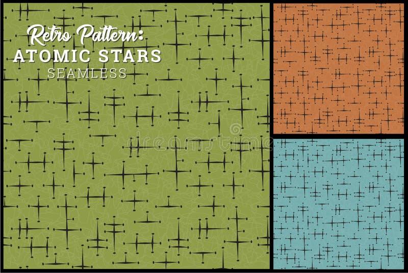 Sömlös Retro stjärnamodell i 3 tappningfärgalternativ vektor illustrationer