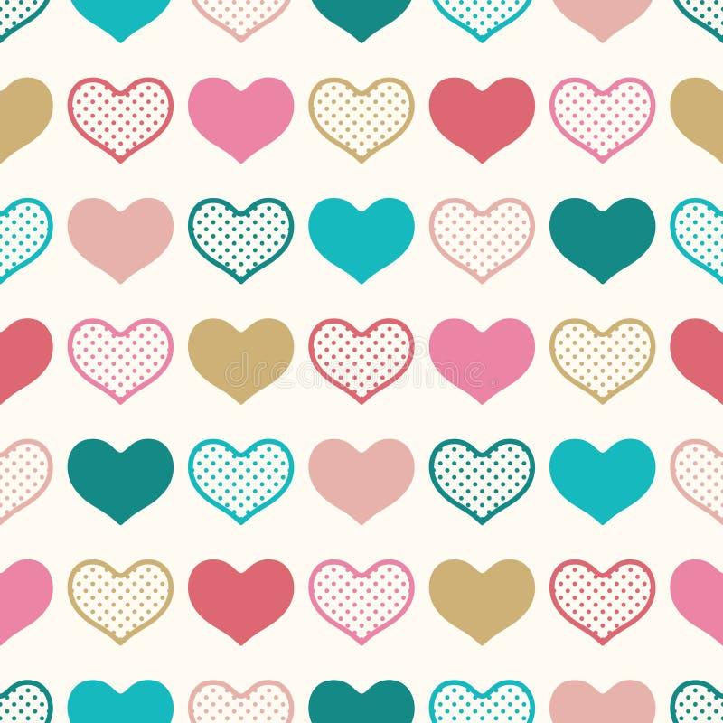 Sömlös rolig hjärtatapetbakgrund vektor illustrationer