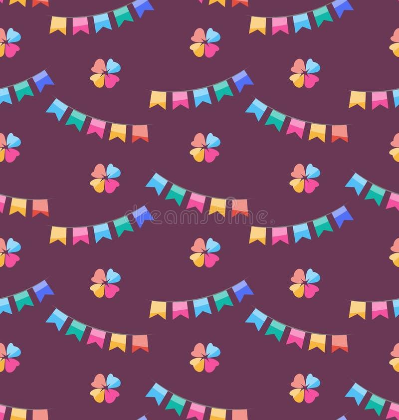 Sömlös rolig textur med färgrika Buntings för ferie stock illustrationer