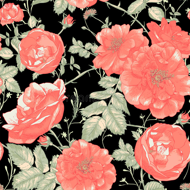 Sömlös romantisk rosbakgrund för tappning stock illustrationer