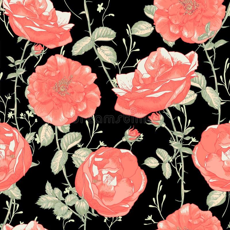 Sömlös romantisk rosbakgrund för tappning royaltyfri illustrationer
