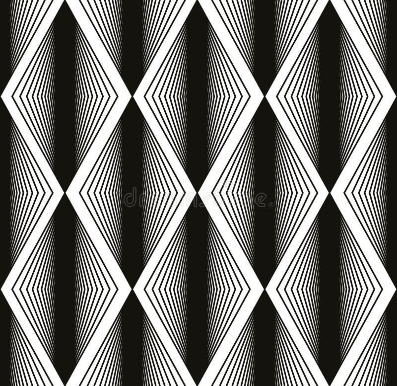 Sömlös rombmodell, abstrakt geometrisk svartvit bac royaltyfri illustrationer
