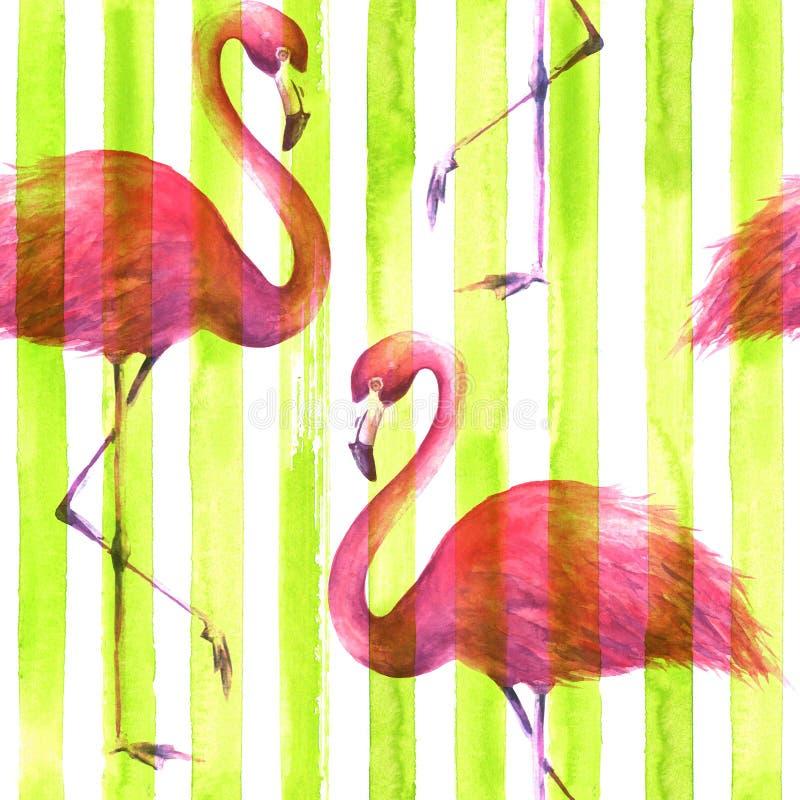 Sömlös rosa flamingomodell royaltyfri illustrationer
