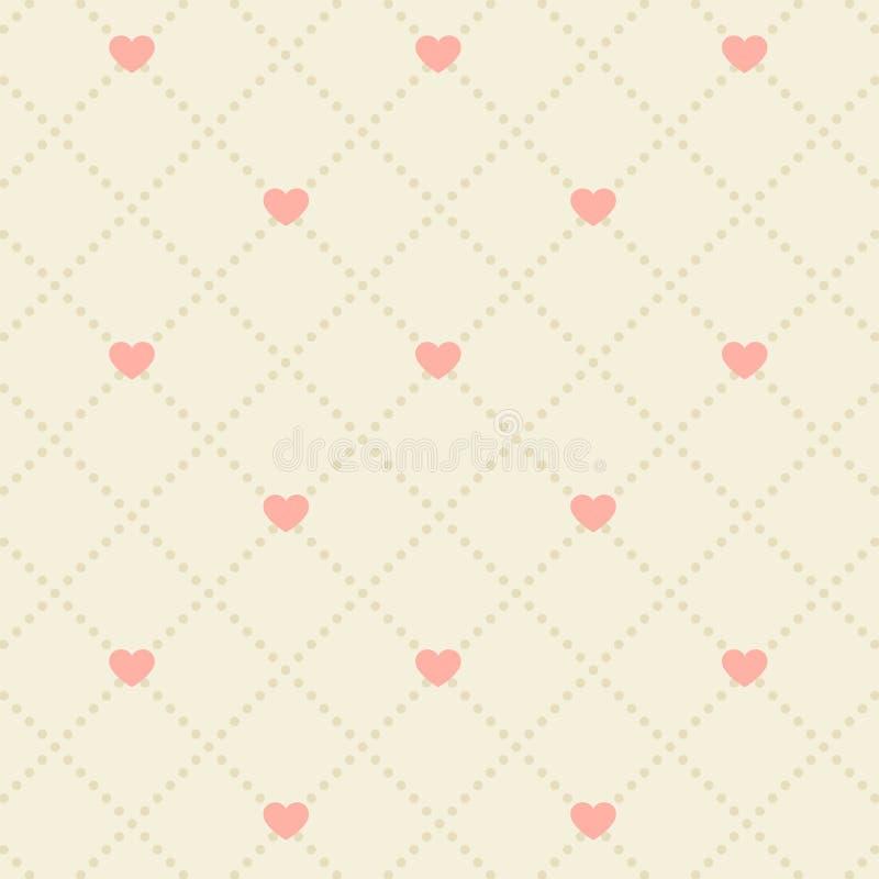 Sömlös rosa hjärtamodell royaltyfri illustrationer