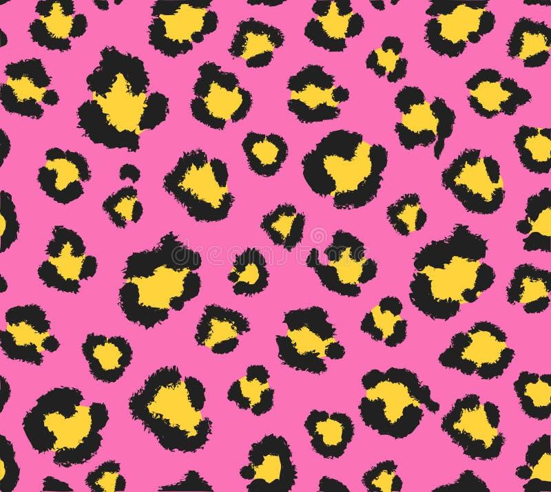 Sömlös rosa och gul leopardmönster 80s 90s Fashionable exotic animal print Vector stock illustrationer