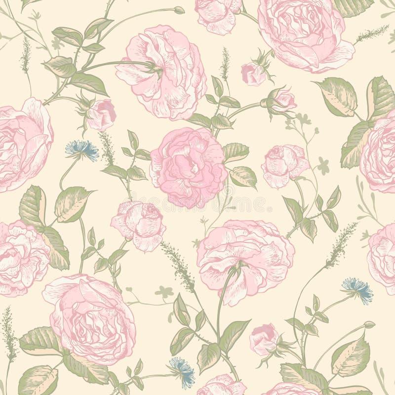 Sömlös rosbakgrund för härlig tappning stock illustrationer